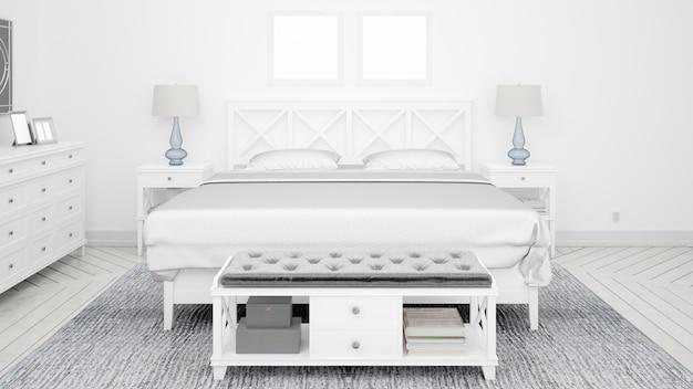 Quarto clássico ou quarto de hotel com cama de casal e móveis elegantes Psd grátis