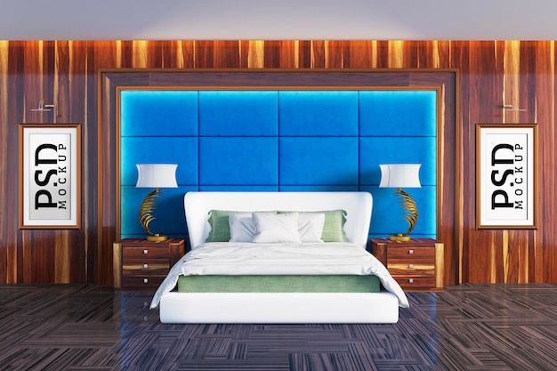 Quarto com detalhes em paredes verdes de colchão e duas molduras Psd Premium