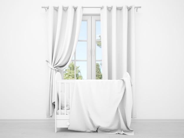 Quarto de bebê branco realista com uma janela e um berço Psd grátis