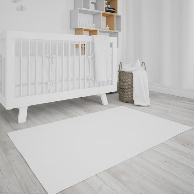 Quarto de bebê com berço branco Psd grátis