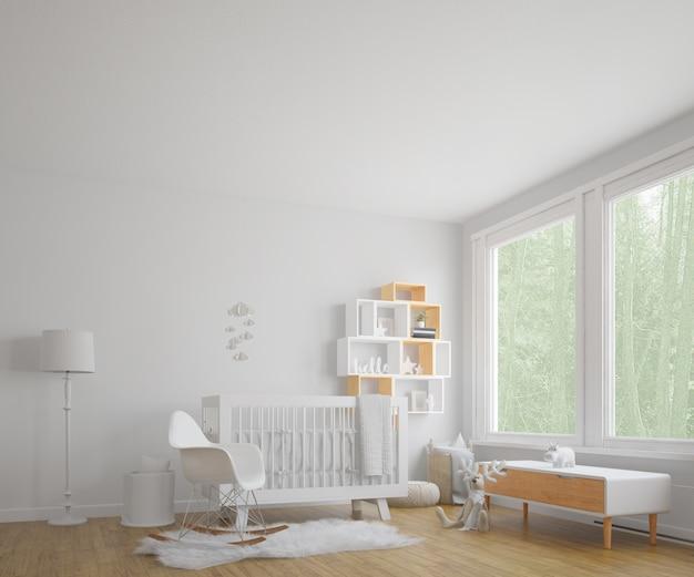 Quarto de criança com grande janela Psd grátis