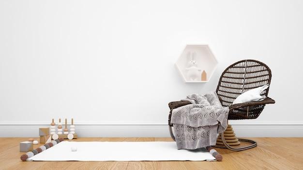 Quarto decorado com móveis modernos, carpete e objetos decorativos Psd grátis