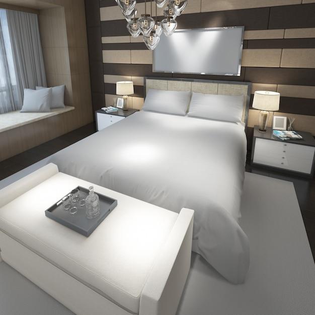 Quarto duplo moderno realista com móveis e uma moldura Psd grátis