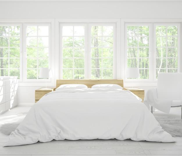 Quarto duplo realista com móveis e janelas grandes Psd grátis