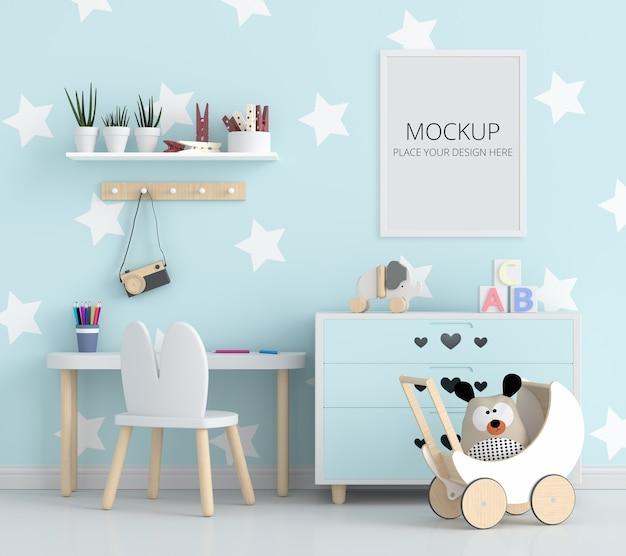 Quarto infantil azul com maquete de quadro Psd Premium