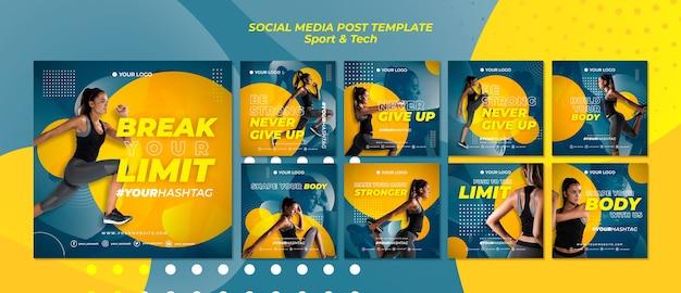 Quebrar seus limites esporte post de mídia social Psd grátis