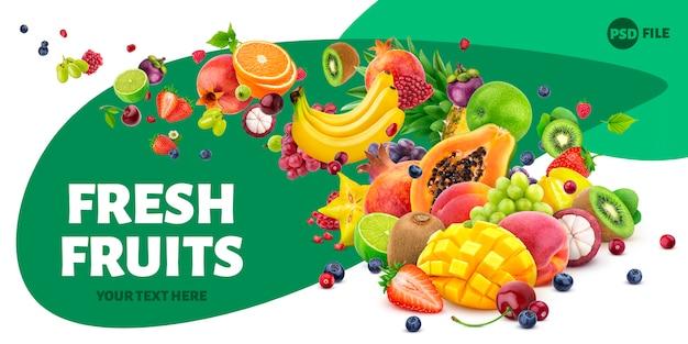 Queda de frutas e bagas isoladas Psd Premium
