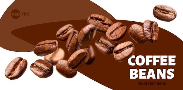 Queda de grãos de café Psd Premium