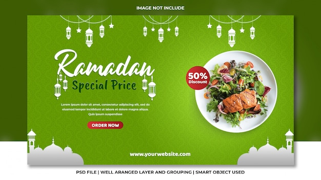 Ramadan islâmico saudável comida restaurante web banner verde psd modelo Psd Premium