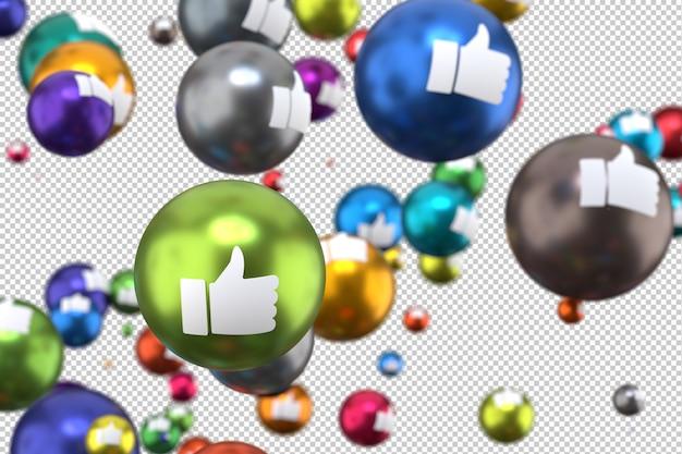 Reações no facebook como emoji render 3d, ícone de balão de mídia social com como Psd Premium