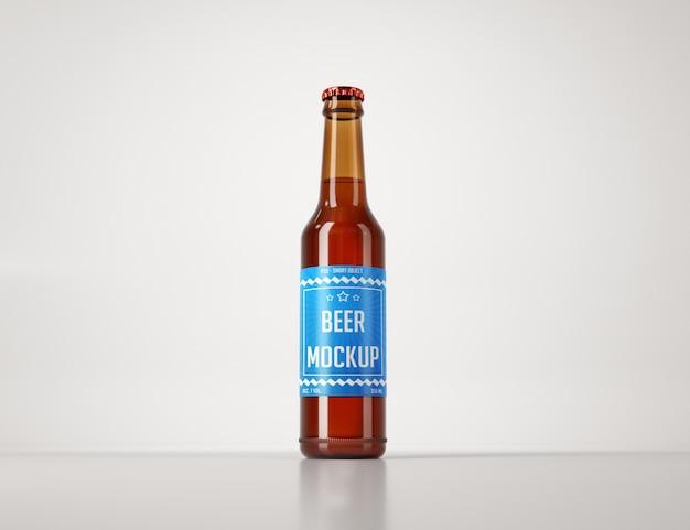 Realista garrafa de cerveja em uma maquete de luz de fundo Psd Premium