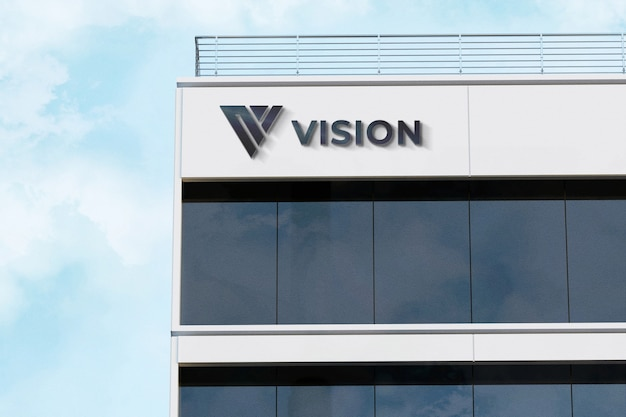Realistic 3d logo mockup sign company white building Psd Premium