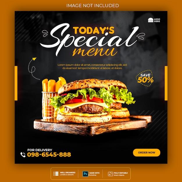 Redes sociais de hambúrguer de fast food e banner do instagram Psd Premium