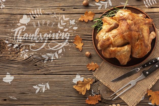 Refeição tradicional de peru no dia de ação de graças Psd grátis
