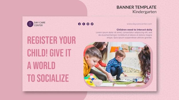 Registre o seu modelo de banner de jardim de infância infantil Psd grátis
