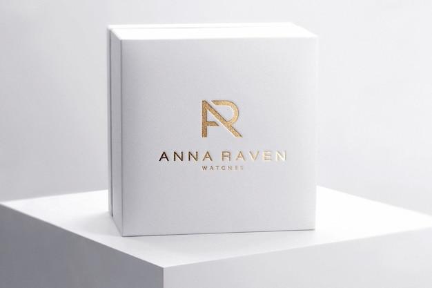 Relógio de luxo de caixa de maquete de logotipo Psd Premium