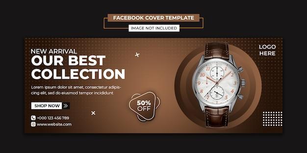 Relógio moderno de mídia social e modelo de capa do facebook Psd Premium