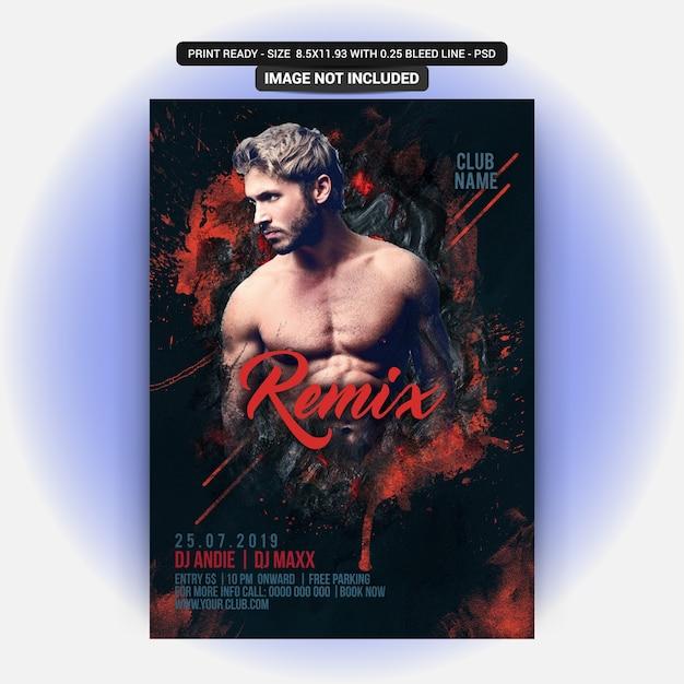 Remix dj party flyer Psd Premium