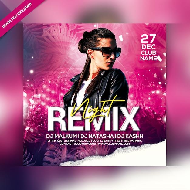 Remix panfleto de festa à noite Psd Premium