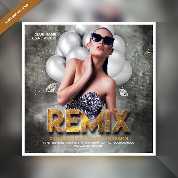 Remix party flyer Psd Premium