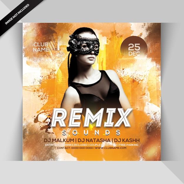 Remix sound dj party flyer Psd Premium