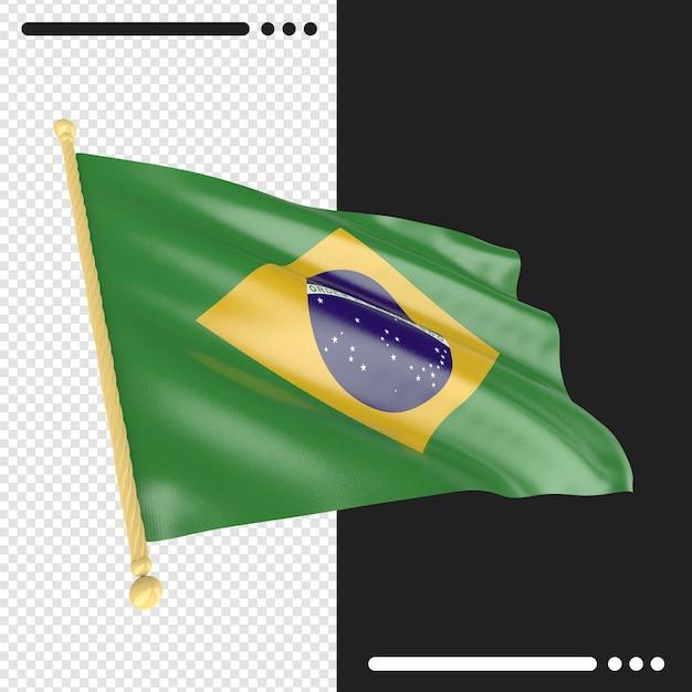 Renderização 3d da bandeira do brasil isolada Psd Premium