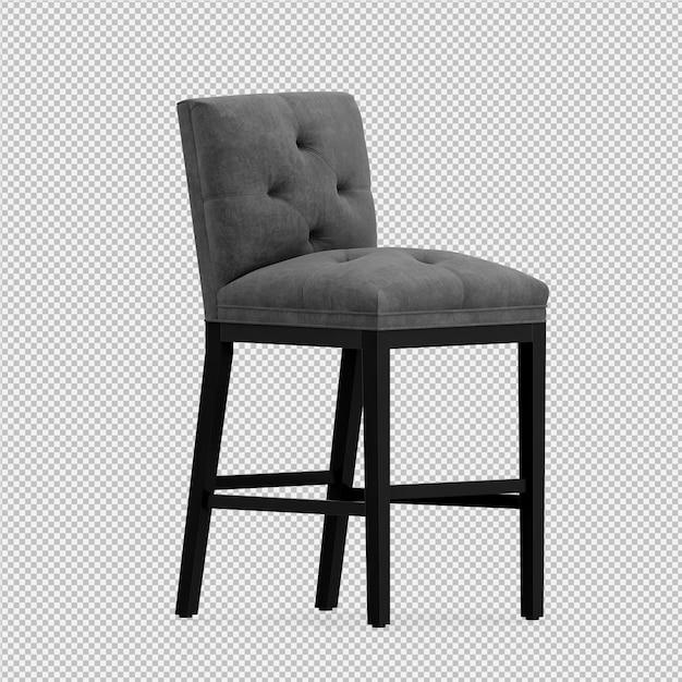 Renderização 3d da cadeira isométrica Psd Premium