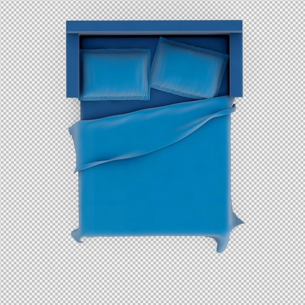Renderização 3d da cama isométrica Psd Premium