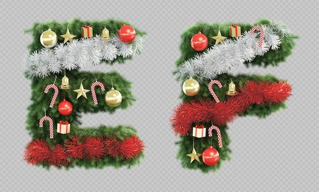 Renderização 3d da letra e e da letra f da árvore de natal Psd Premium