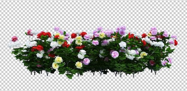 Renderização 3d de brush tree com flores isoladas Psd Premium