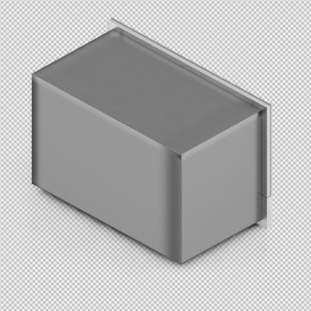 Renderização 3d de microondas isométrica Psd Premium