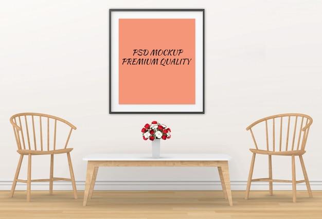 Renderização 3d de sala de estar interior em branco cartaz de maquete em uma parede Psd Premium