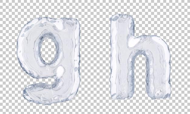 Renderização 3d do alfabeto de gelo ge alfabeto h Psd Premium
