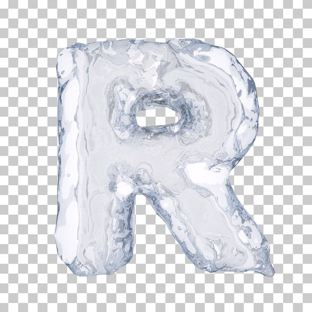 Renderização 3d do alfabeto de gelo r Psd Premium