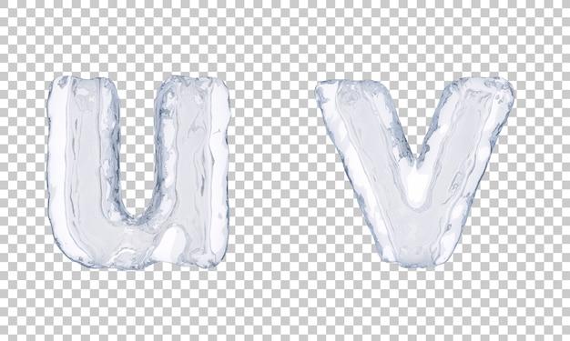 Renderização 3d do alfabeto de gelo u e alfabeto v Psd Premium