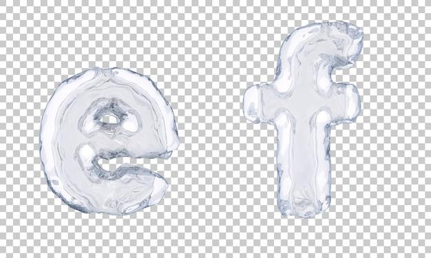Renderização 3d do gelo alfabeto eef alfabeto f Psd Premium
