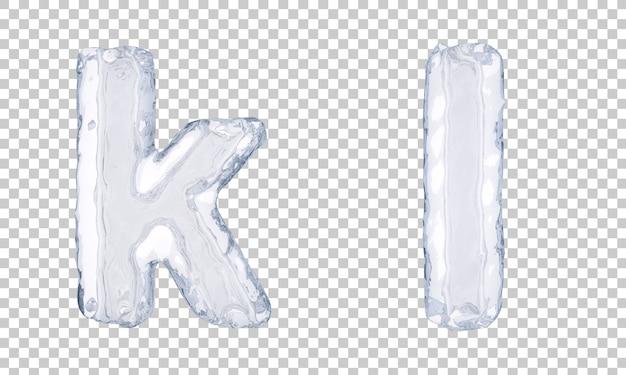 Renderização 3d do gelo alfabeto ke alfabeto l Psd Premium
