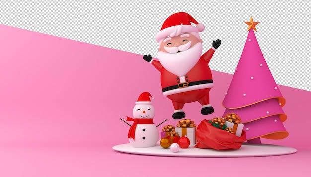 Renderização 3d do papai noel, caixa de presente e árvore de natal Psd Premium