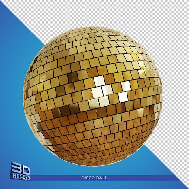 Renderização 3d gold discoball isolada Psd Premium