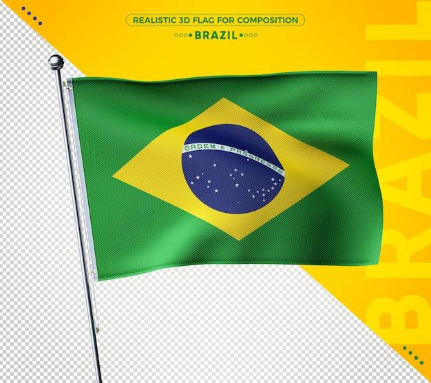Renderização de bandeira texturizada 3d realista do brasil Psd Premium