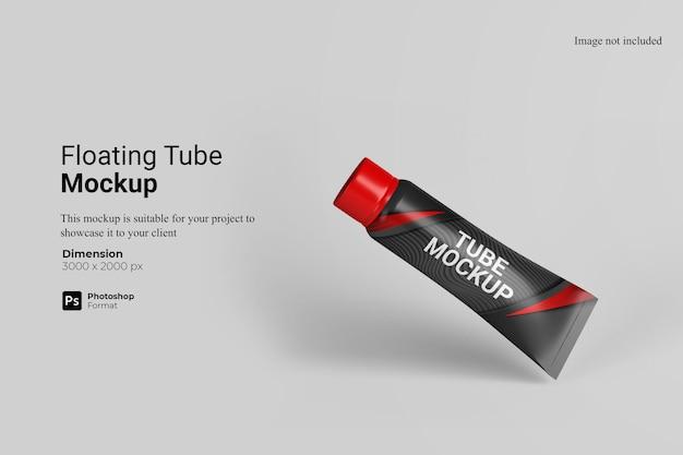 Renderização de projeto de mockup de tubo flutuante Psd Premium