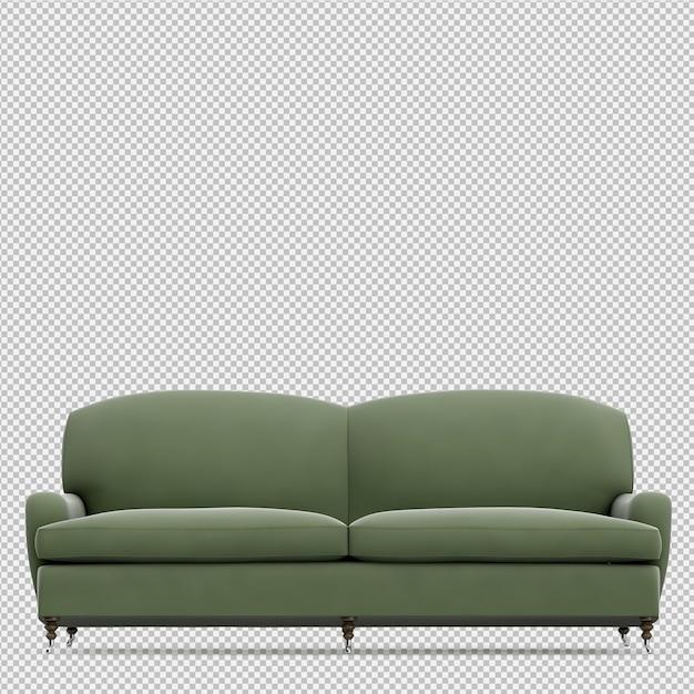 Renderização de sofá isométrica 3d Psd Premium