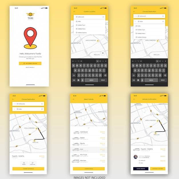 Reserva app mobile ui kit Psd Premium