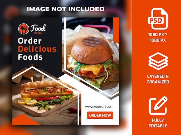 Restaurant food social media mensagem banner template psd Psd Premium
