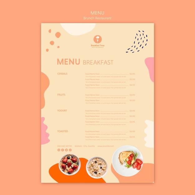 Restaurante brunch com menu de café da manhã Psd grátis