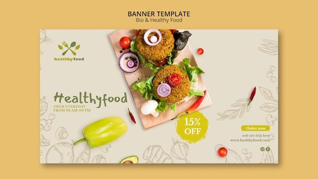 Restaurante com modelo de banner de comida saudável Psd grátis