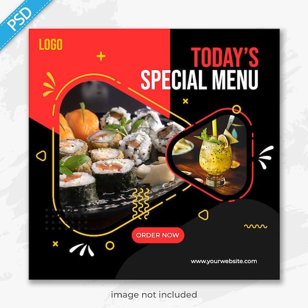 Restaurante de comida para mídias sociais instagram post banner template premium Psd Premium