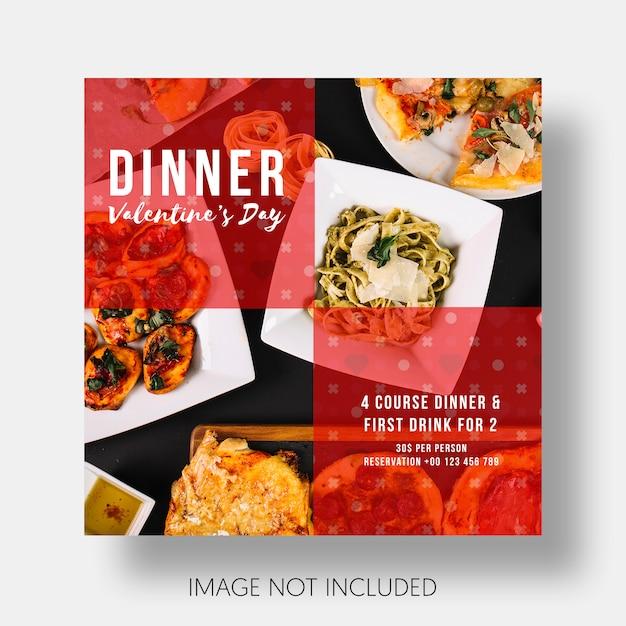Restaurante modelo social dia dos namorados Psd grátis