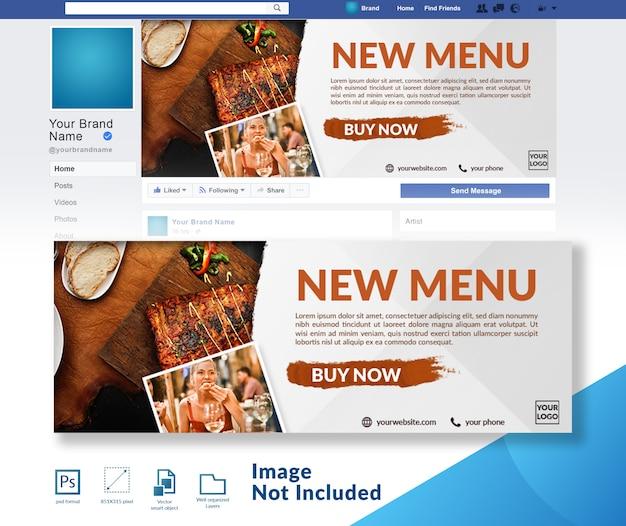 Restaurante novo lançamento do menu banner de cobertura de mídia social Psd Premium