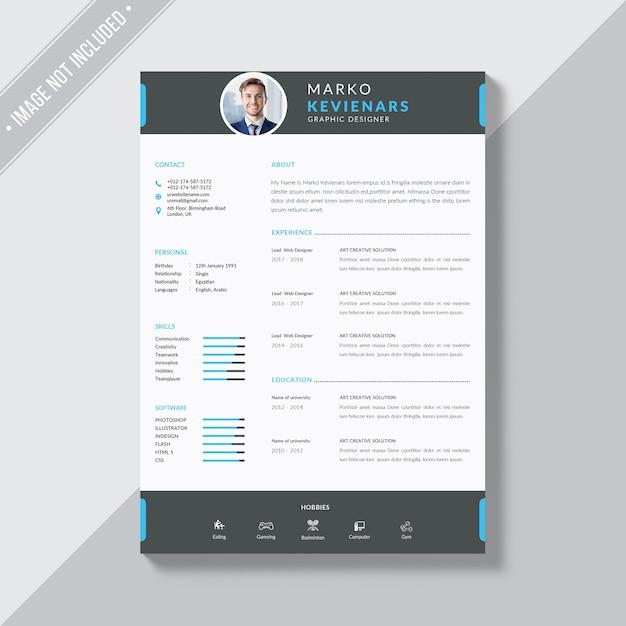 Resume template Psd Premium